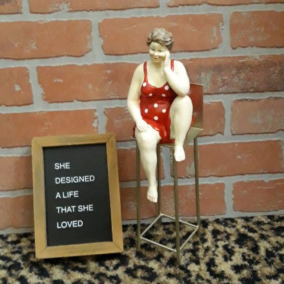 Woman  Elf Shelf Chair bikini polka dot statue ART